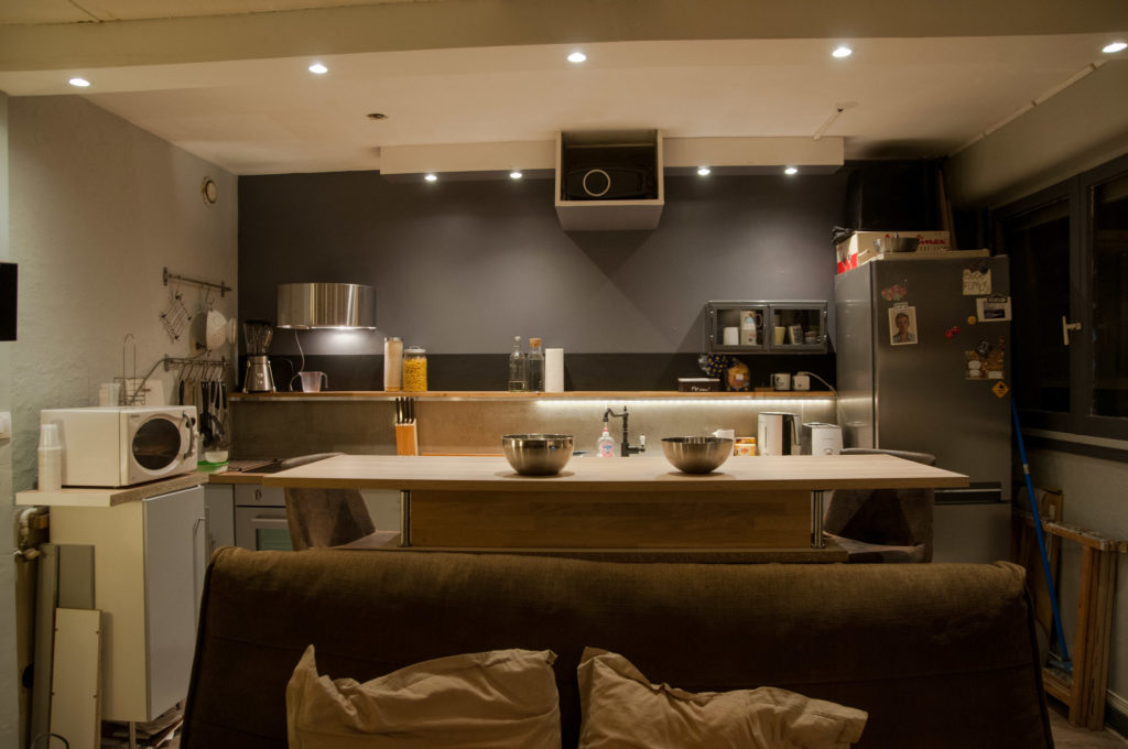 To Separate The Kitchen Area From The Living Room, We Added A Very Large  Bar, That Also Allowed For Rows Of Drawers Under It, Adding More Kitchen  Storage.